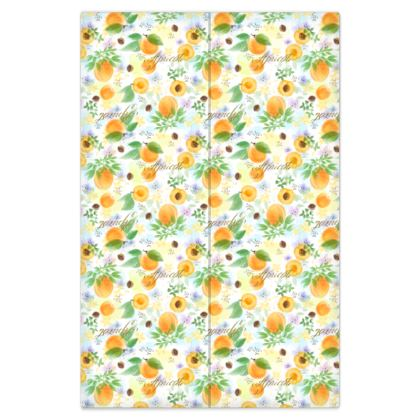 Little sun - Bed Sheets - fruit design, apricots, sunny, orchard, yellow, bright, natural food, garden, hand-drawn floral, summer gift - design by Tiana Lofd