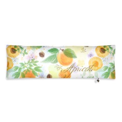 Little sun - Bolster Cushion - fruit design, apricots, sunny, orchard, yellow, bright, natural food, garden, hand-drawn floral, summer gift - design by Tiana Lofd