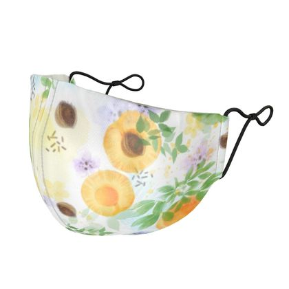 Little sun - Silk Face Masks - fruit design, apricots, sunny, orchard, yellow, bright, natural food, garden, hand-drawn floral, summer gift - design by Tiana Lofd