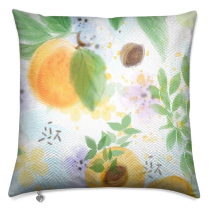 Little sun - Luxury Cushions - fruit design, apricots, sunny, orchard, yellow, bright, natural food, garden, hand-drawn floral, summer gift - design by Tiana Lofd