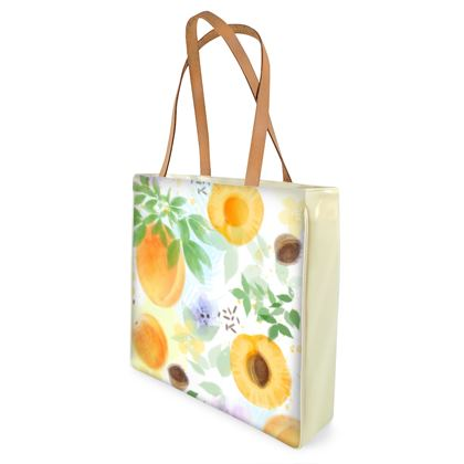 Little sun - Beach Bag - fruit design, apricots, sunny, orchard, yellow, bright, natural food, garden, hand-drawn floral, summer gift - design by Tiana Lofd