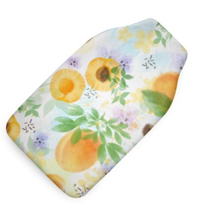 Little sun - Hot Water Bottle - fruit design, apricots, sunny, orchard, yellow, bright, natural food, garden, hand-drawn floral, summer gift - design by Tiana Lofd
