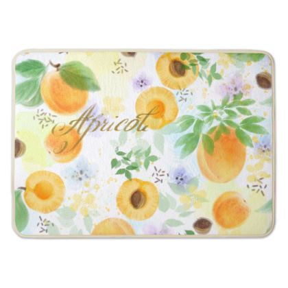 Little sun - Bath Mat - fruit design, apricots, sunny, orchard, yellow, bright, natural food, garden, hand-drawn floral, summer gift - design by Tiana Lofd