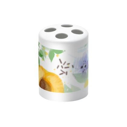 Little sun - Toothbrush Holder - fruit design, apricots, sunny, orchard, yellow, bright, natural food, garden, hand-drawn floral, summer gift - design by Tiana Lofd
