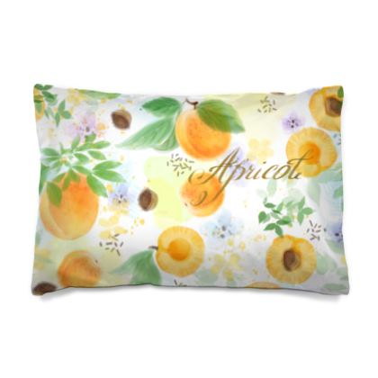 Little sun - Pillow Case JAPAN - fruit design, apricots, sunny, orchard, yellow, bright, natural food, garden, hand-drawn floral, summer gift - design by Tiana Lofd
