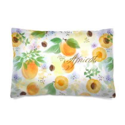 Little sun - Pillow Cases sizes - fruit design, apricots, sunny, orchard, yellow, bright, natural food, garden, hand-drawn floral, summer gift - design by Tiana Lofd
