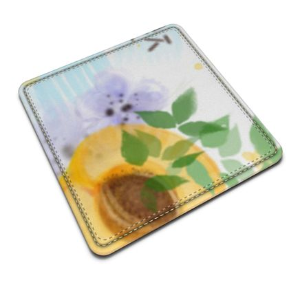 Little sun - Leather Coasters - fruit design, apricots, sunny, orchard, yellow, bright, natural food, garden, hand-drawn floral, summer gift - design by Tiana Lofd