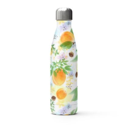 Little sun - Stainless Steel Thermal Bottle - fruit design, apricots, sunny, orchard, yellow, bright, natural food, garden, hand-drawn floral, summer gift - design by Tiana Lofd