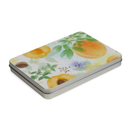 Little sun - Tin Box Hinge Lid - fruit design, apricots, sunny, orchard, yellow, bright, natural food, garden, hand-drawn floral, summer gift - design by Tiana Lofd