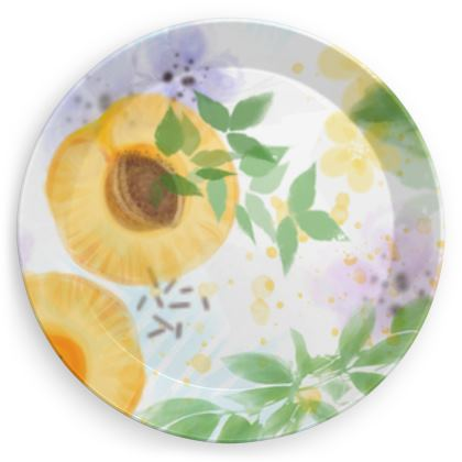Little sun - Party Plates - fruit design, apricots, sunny, orchard, yellow, bright, natural food, garden, hand-drawn floral, summer gift - design by Tiana Lofd