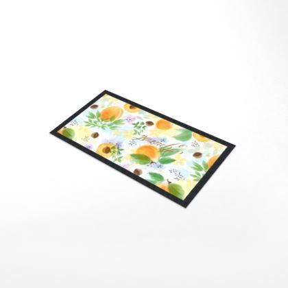 Little sun - Bar Runner Mat - fruit design, apricots, sunny, orchard, yellow, bright, natural food, garden, hand-drawn floral, summer gift - design by Tiana Lofd