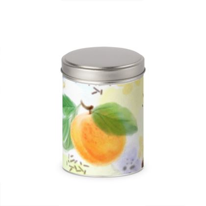 Little sun - Cylinder Tins - fruit design, apricots, sunny, orchard, yellow, bright, natural food, garden, hand-drawn floral, summer gift - design by Tiana Lofd