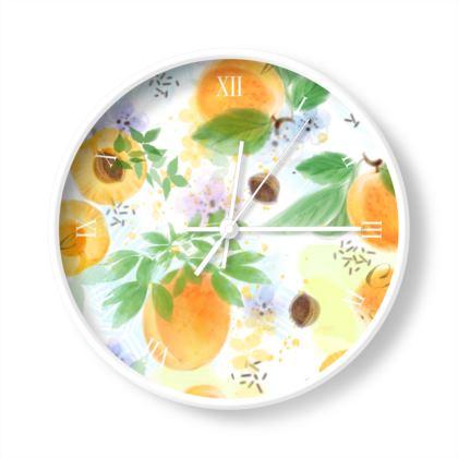 Little sun - Wall Clocks - fruit, apricots, sunny orchard, yellow, summer gift, garden