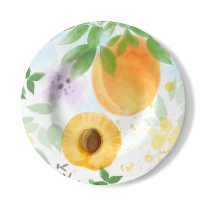 Little sun - Decorative Plate - fruit design, apricots, sunny, orchard, yellow, natural food, garden, hand-drawn floral, summer gift - design by Tiana Lofd