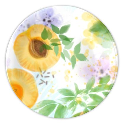 Little sun - China Plates - fruit design, apricots, sunny, orchard, yellow, natural food, garden, hand-drawn floral, summer gift - design by Tiana Lofd