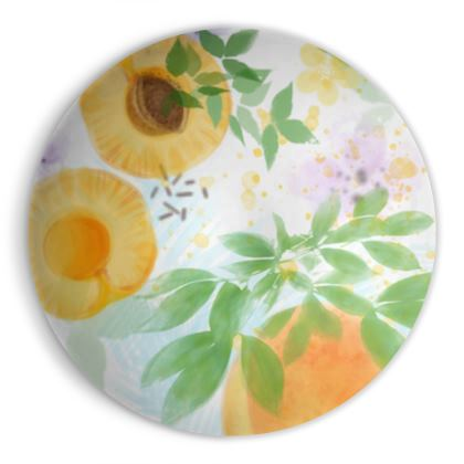 Little sun - Ornamental Bowl - fruit design, apricots, sunny, orchard, yellow, bright, natural food, garden, hand-drawn floral, summer gift - design by Tiana Lofd