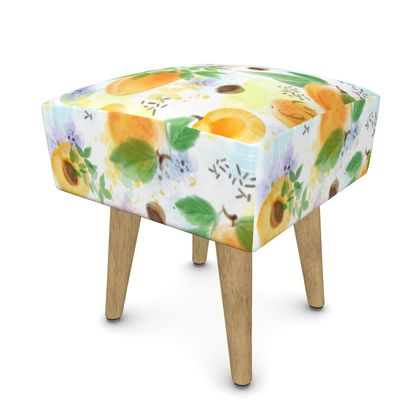 Little sun - Footstool (Round, Square, Hexagonal) - fruit design, apricots, sunny, orchard, yellow, bright, natural food, garden, hand-drawn floral, summer gift - design by Tiana Lofd
