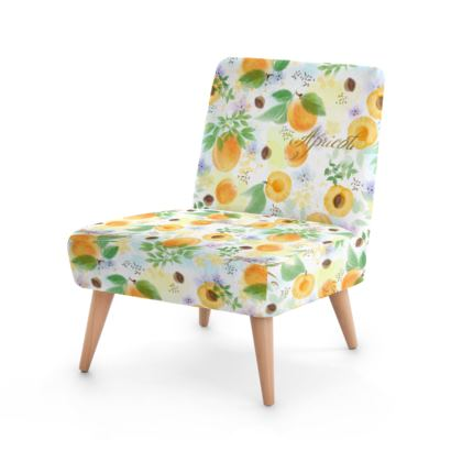 Little sun - Occasional Chair - fruit design, apricots, sunny, orchard, yellow, bright, natural food, garden, hand-drawn floral, summer gift - design by Tiana Lofd
