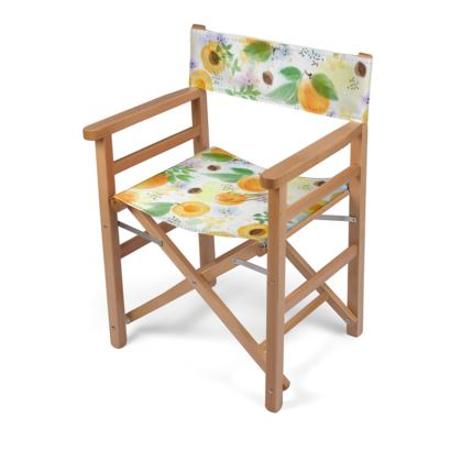 Little sun - Directors Chair - fruit design, apricots, sunny, orchard, yellow, bright, natural food, garden, hand-drawn floral, summer gift - design by Tiana Lofd