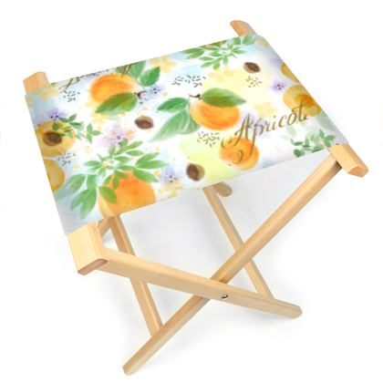 Little sun - Folding Stool Chair - fruit design, apricots, sunny, orchard, yellow, bright, natural food, garden, hand-drawn floral, summer gift - design by Tiana Lofd