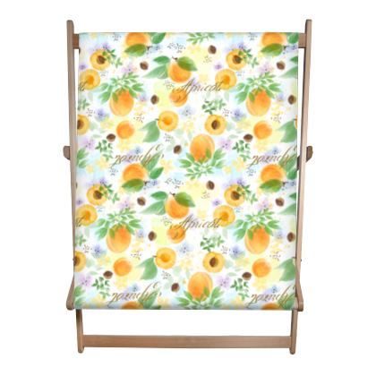 Little sun - Double Deckchair - fruit design, apricots, sunny, orchard, yellow, bright, natural food, garden, hand-drawn floral, summer gift - design by Tiana Lofd