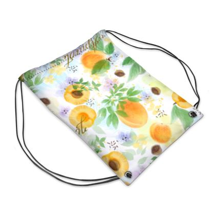Little sun - Drawstring PE Bag - fruit design, apricots, sunny, orchard, yellow, bright, natural food, garden, hand-drawn floral, summer gift - design by Tiana Lofd