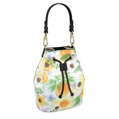 Little sun - Bucket Bag - fruit design, apricots, sunny, orchard, yellow, bright, natural food, garden, hand-drawn floral, summer gift - design by Tiana Lofd