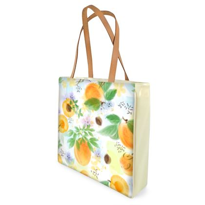 Little sun - Shopper Bags - fruit design, apricots, sunny, orchard, yellow, bright, natural food, garden, hand-drawn floral, summer gift - design by Tiana Lofd