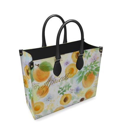Little sun - Leather Shopper Bag - fruit design, apricots, sunny, orchard, yellow, bright, natural food, garden, hand-drawn floral, summer gift - design by Tiana Lofd