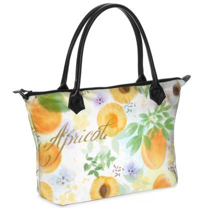 Little sun - Zip Top Handbag - fruit design, apricots, sunny, orchard, yellow, bright, natural food, garden, hand-drawn floral, summer gift - design by Tiana Lofd