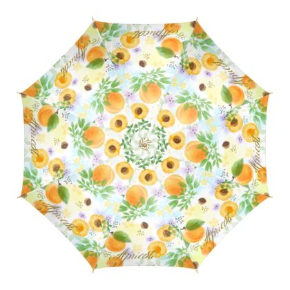 Little sun -Umbrella - fruit design, apricots, sunny, orchard, yellow, natural food, garden, hand-drawn floral, summer gift - design by Tiana Lofd