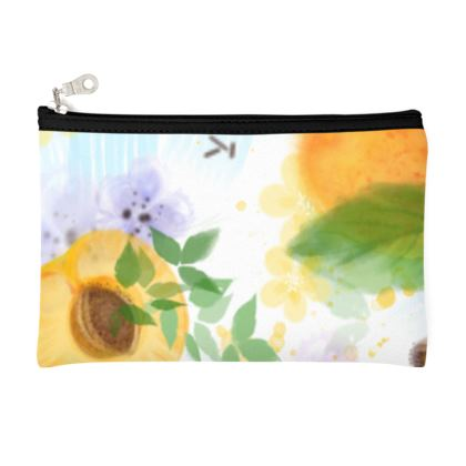Little sun - Zip Top Pouch - fruit design, apricots, sunny, orchard, yellow, bright, natural food, garden, hand-drawn floral, summer gift - design by Tiana Lofd