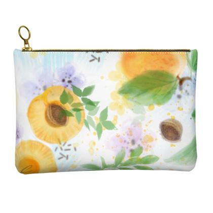 Little sun - Leather Clutch Bag - fruit design, apricots, sunny, orchard, yellow, bright, natural food, garden, hand-drawn floral, summer gift - design by Tiana Lofd