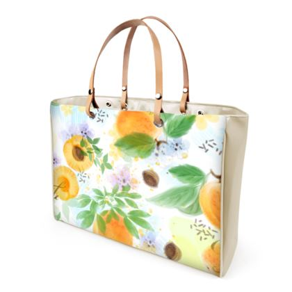 Little sun - Handbags - fruit design, apricots, sunny, orchard, yellow, bright, natural food, garden, hand-drawn floral, summer gift - design by Tiana Lofd
