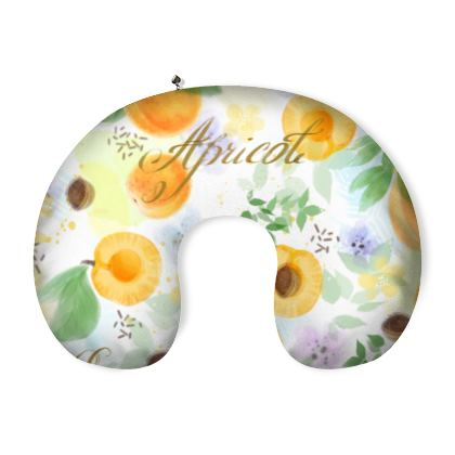 Little sun - Neck Pillow - fruit design, apricots, sunny, orchard, yellow, bright, natural food, garden, hand-drawn floral, summer gift - design by Tiana Lofd