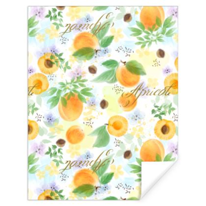 Little sun - Gift Wrap - fruit design, apricots, sunny, orchard, yellow, bright, natural food, garden, hand-drawn floral, summer gift - design by Tiana Lofd