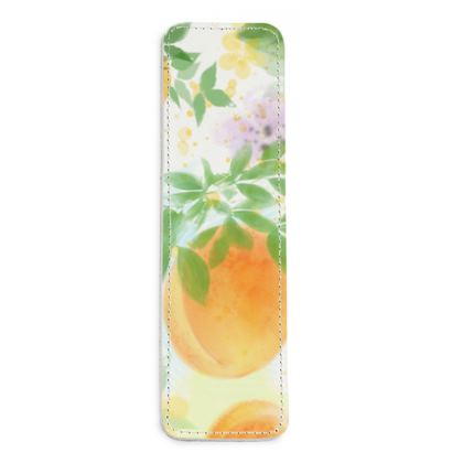 Little sun - Leather Bookmarks - fruit design, apricots, sunny, orchard, yellow, bright, natural food, garden, hand-drawn floral, summer gift - design by Tiana Lofd