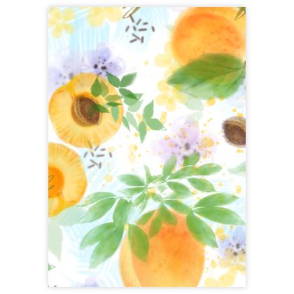 Little sun - Leather Sample Test Print - fruit design, apricots, sunny, orchard, yellow, natural food, garden, hand-drawn floral, summer gift - design by Tiana Lofd