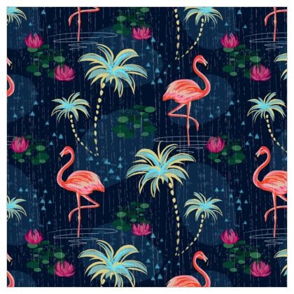 Pink flamingo - Leather Printing - tropical rain, palms, dark blue, navy, exotic, Bohemian, whimsical, resort, beach, bright, jungle, travel - design by Tiana Lofd