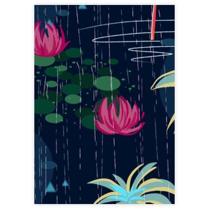 Pink flamingo - Leather Sample Test Print - tropical rain, palms, dark blue, navy, exotic, Bohemian, whimsical, resort, beach, bright, jungle, travel - design by Tiana Lofd
