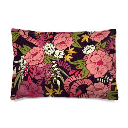 Pillow Case - hand drawn floral jungle design