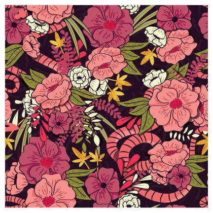 Zip Top Handbag - hand drawn floral jungle design