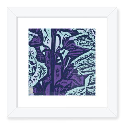 Framed Art Prints Blue, Botanical  Foxglove  Deep Ocean