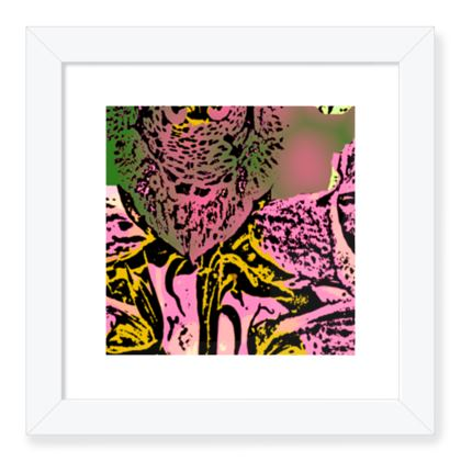 Framed Art Prints Pink, Gold,  Botanical  Foxglove  Tropical