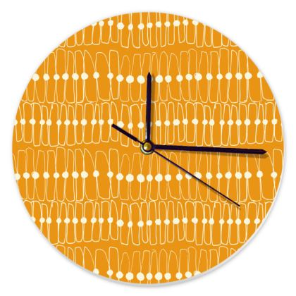 Mid-Century Orange Round Clock