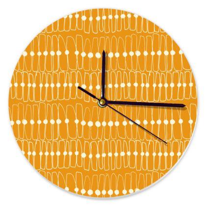 Mid-Century Orange Round Clock