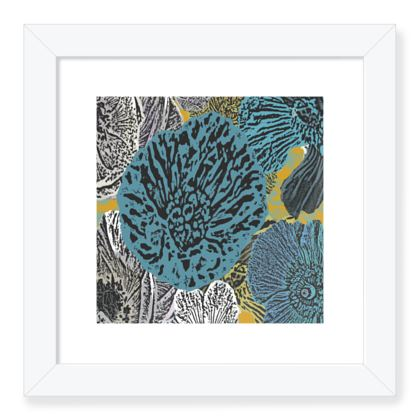 Framed Art Prints, Teal, Grey, Botanical  Anemone  Goldfinch