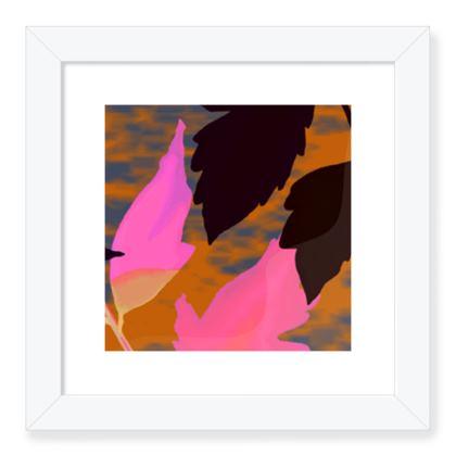 Framed Art Prints  Pink, Black,  Botanical  Diamond Leaves  Infrared