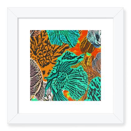 Framed Art Prints Green, Orange, Botanical  Anemone  Chestnuts