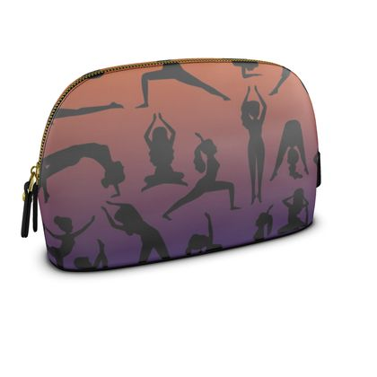Large Premium Nappa Make Up Bag - Burnt Sunset Yoga Poses